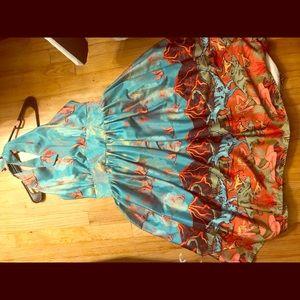 Lindy bop satin dinosaur swing dress
